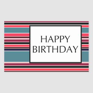 happy birthday (wineStripes) Rectangular Sticker