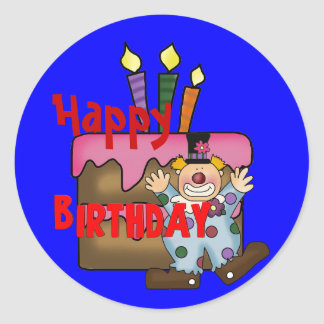 Happy Birthday Wishes Cake Clown Round Sticker