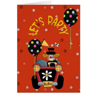 Happy Birthday Wishes Circus Clown Greeting Card