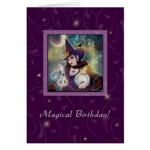 Happy Birthday - Witch Purple Magic Greeting Cards