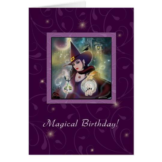 Happy Birthday - Witch Purple Magic Card