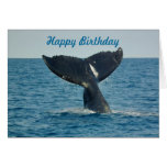 Happy Birthday with a whale's tail and custom text Greeting Card
