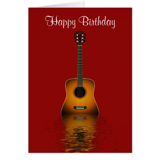 Happy Birthday with acoustic guitar for musician Card