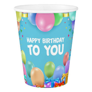 Happy Birthday with balloons and gifts Paper Cup