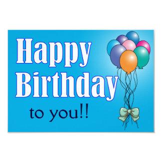Happy Birthday with balloons flat card 9 Cm X 13 Cm Invitation Card