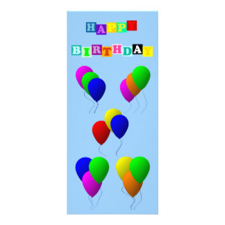 Happy Birthday with Balloons Rack Card