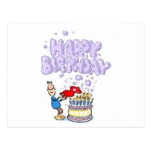 Happy Birthday with birthday cake candles Postcard