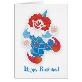 happy birthday! with blue clown greeting card