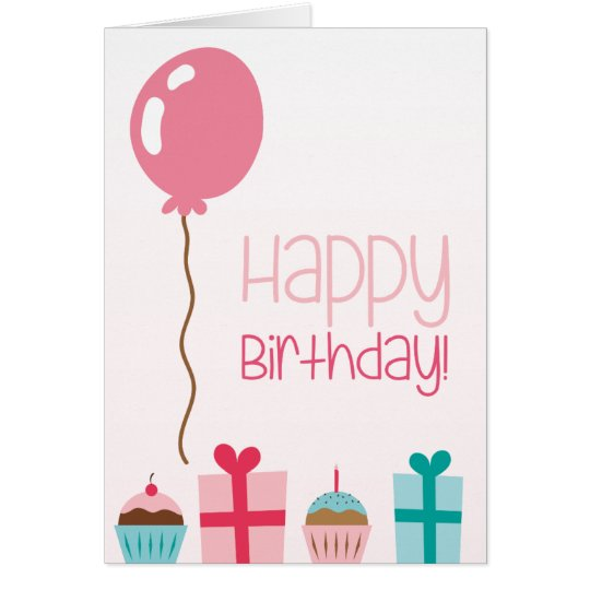 Happy Birthday with cakes, presents & candles Card