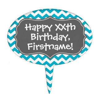 Happy Birthday with Chevron Pattern - teal gray Oval Cake Topper