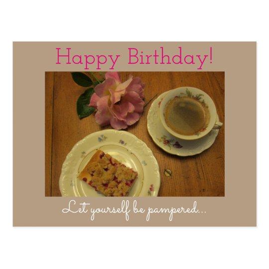 Happy Birthday with coffee & homemade Cake Postcard
