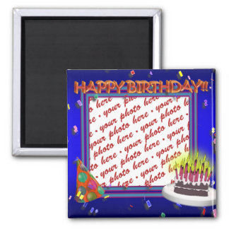 Happy Birthday With Confetti  Photo Frame Square Magnet