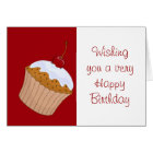 Happy Birthday with cupcake and cherry on top Card