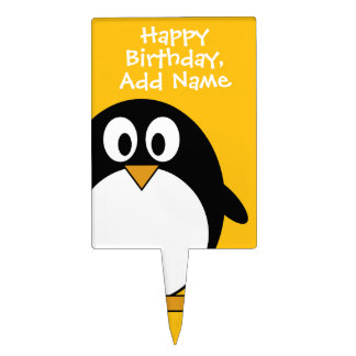 Happy Birthday with Cute Cartoon Penguin Cake Topper