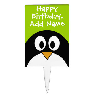 Happy Birthday with Cute Cartoon Penguin Cake Toppers