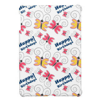 """Happy Birthday"" with cute doodle butterfly iPad Mini Covers"