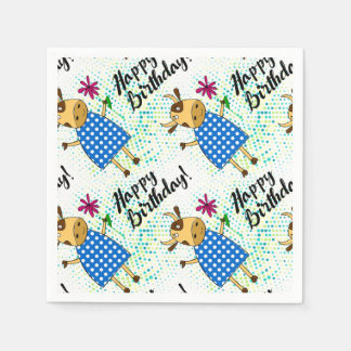 """""""Happy Birthday"""" with cute doodle cow Disposable Serviettes"""