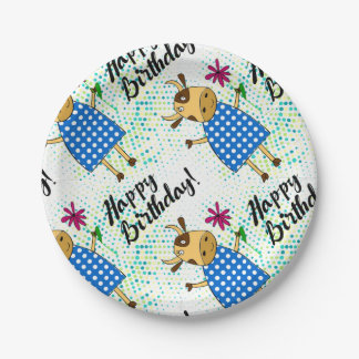"""Happy Birthday"" with cute doodle cow Paper Plate"