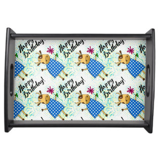 """Happy Birthday"" with cute doodle cow Serving Tray"
