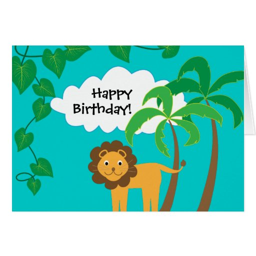 Happy Birthday with Cute Loin in Jungle Greeting Card