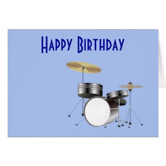 Happy Birthday with drum kit for musician drummer Card