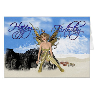 Happy Birthday with Fairy on the Seashore Greeting Card