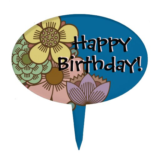 """""""Happy Birthday"""" with Flowers - Cake Topper - 3"""