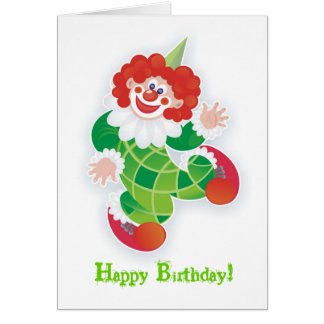 happy birthday! with green clown card