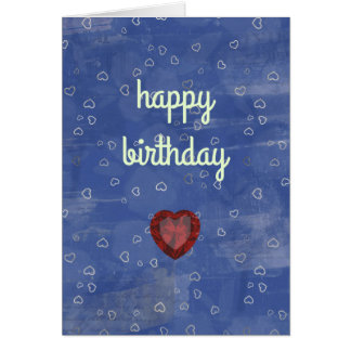 Happy birthday with hearts and a bright jewel card