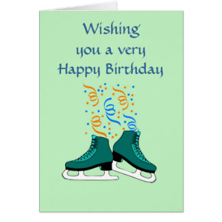 Happy Birthday with iceskates and ribbons Greeting Card