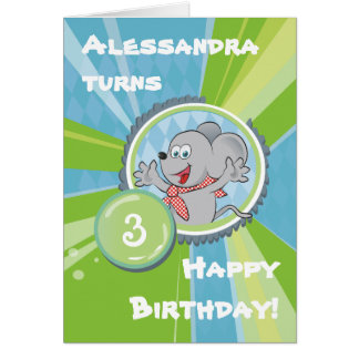 happy birthday! with little mouse on green greeting card