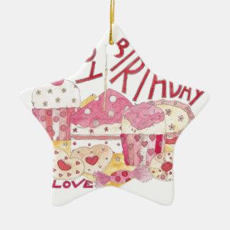 Happy Birthday With Love Ceramic Star Decoration