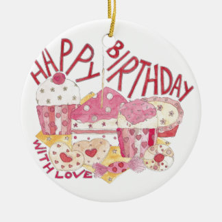 Happy Birthday With Love Round Ceramic Decoration