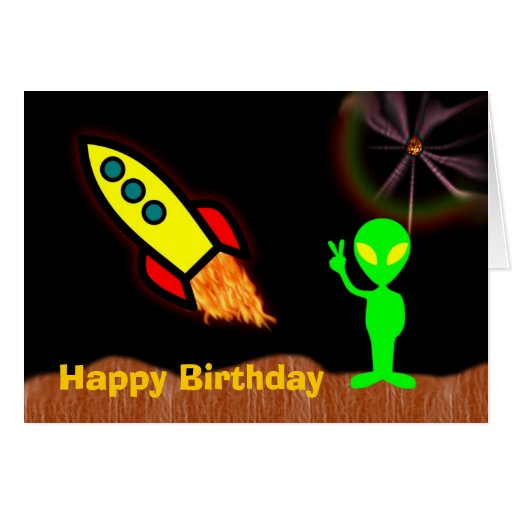 Happy Birthday With Martian Alien For Boy Rocket Greeting