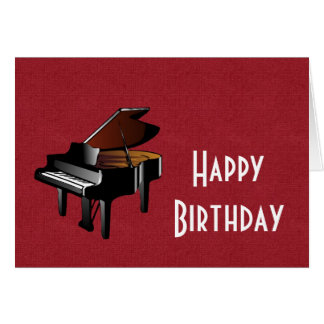 Happy Birthday with piano ebony and ivory Card