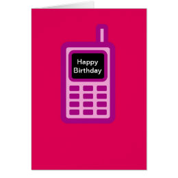 Cell phone birthday cards invitations zazzle happy birthday with pink cell phone card bookmarktalkfo Image collections