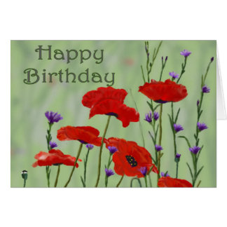 Happy Birthday with Poppies Card