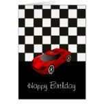 Happy birthday with red racing car greeting card