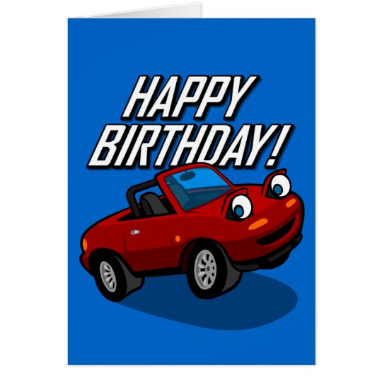 Happy Birthday with Roadster Illustration Card