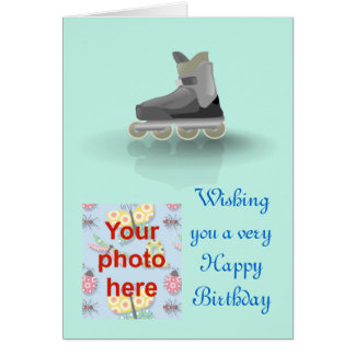 Happy Birthday with rollerblade skating Greeting Card