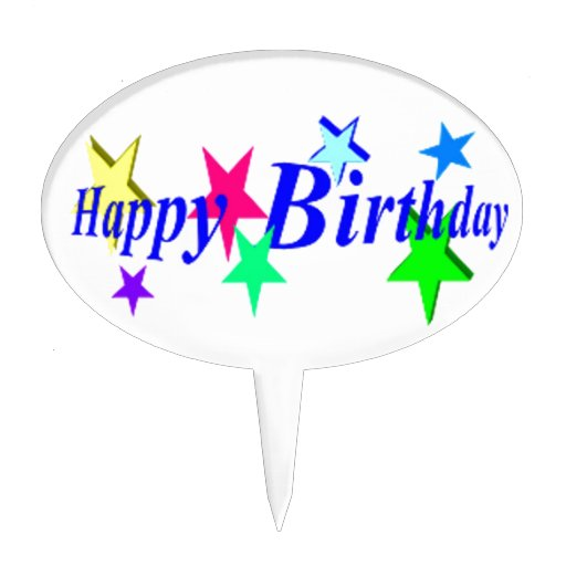 Happy Birthday With Stars Cake Topper