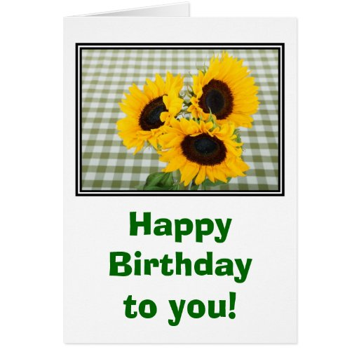 Happy birthday with sunflowers greeting card