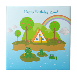 Happy Birthday with the frogs Tile
