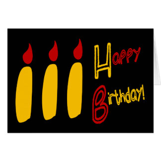 Happy Birthday With Three Lit Candles, RBY Greeting Card