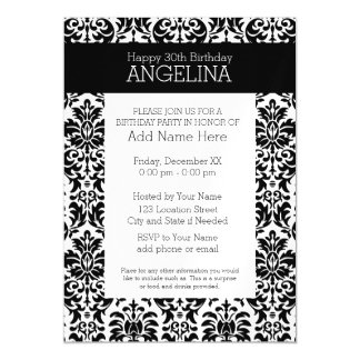 Happy Birthday with Trendy Black and White Damask Magnetic Invitations