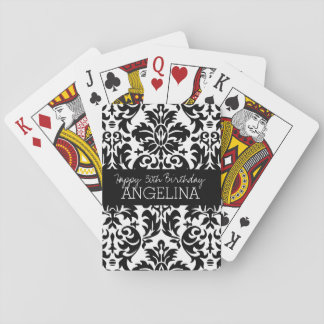 Happy Birthday with Trendy Black and White Damask Playing Cards