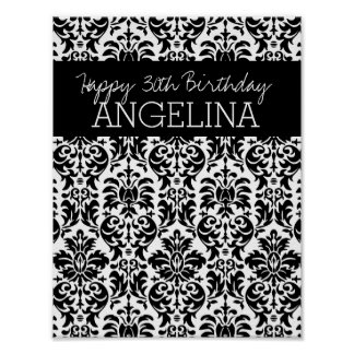 Happy Birthday with Trendy Black and White Damask Poster