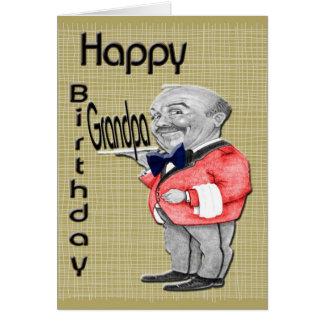 Happy Birthday with Waiter Greeting Card