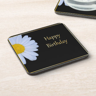 Happy Birthday with White Flower and Black Bkgrd Beverage Coaster