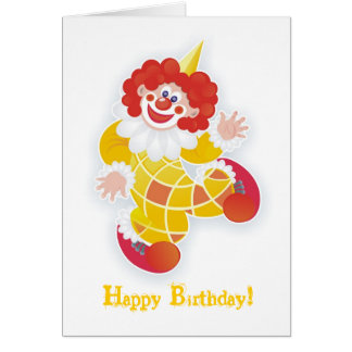 happy birthday! with yellow clown greeting card